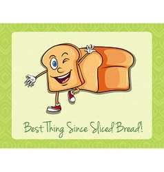 Bread slice with happy face vector