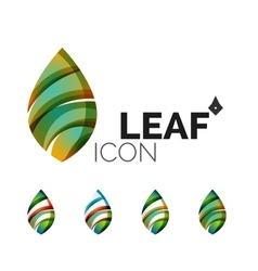 Set of abstract eco leaf icons business logotype vector
