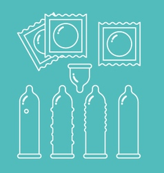 Condoms set and packages vector image