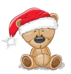 Bear in a santa hat vector