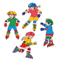 children on roller skates vector image