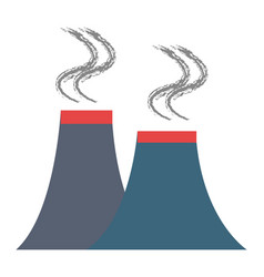 Chimney factory isolated icon vector