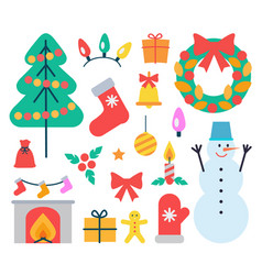 christmas elements icons set vector image vector image