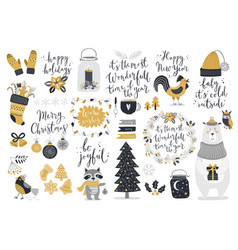 Christmas set hand drawn style - calligraphy vector image vector image