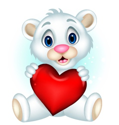 cute little polar bear holding heart love vector image vector image