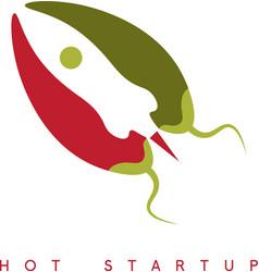 Design template of hot rocket startup chili pepper vector