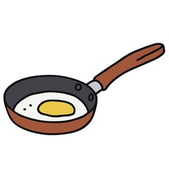 Egg on red pan vector
