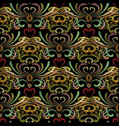 Embroidery floral seamless pattern tapestry vector
