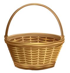 empty wicker basket with handle arc vector image vector image