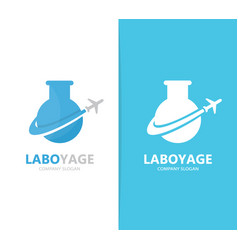 flask and airplane logo combination vector image vector image