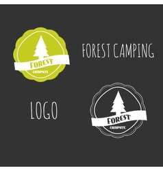 Forest camping wilderness adventure badge graphic vector