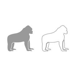 Gorilla grey set icon vector