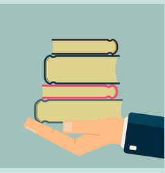 Hand holding books get books for read science vector