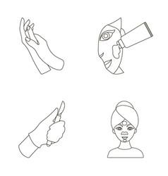 Hand moisturizing scalpel surgeon mask on face vector