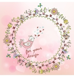 hand painted background with floral wreath and vector image vector image