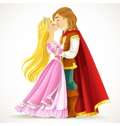 Handsome prince kisses the princess vector image