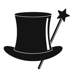 hat with a wand icon simple style vector image