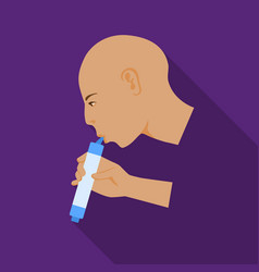 Man drink through compact filter icon in flate vector