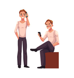 Man talking by mobile phone standing using vector