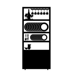 Monochrome cupboard with items of kitchen vector