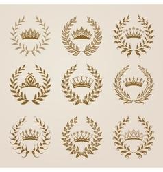 Set of gold laurel wreaths vector image