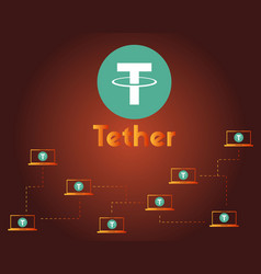 Tether cryptocurrency on dark background style vector