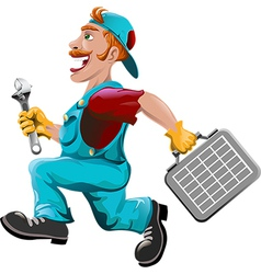 The hurrying plumber vector image vector image