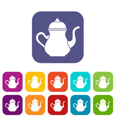 Traditional turkish teapot icons set flat vector