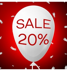 White baloon with text sale 20 percent discounts vector