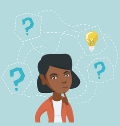 Young woman thinking about new idea for business vector