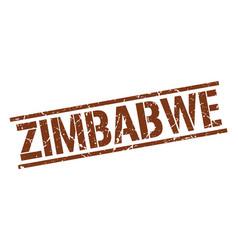 Zimbabwe brown square stamp vector