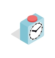 Clock with red button icon isometric 3d style vector