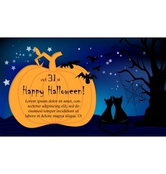 Halloween night card big pumpkin cats vector image