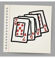Doodle playing cards with the word love vector