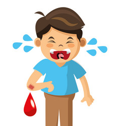 Crying boy blood pain vector