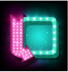 neon sign with arrow vector image