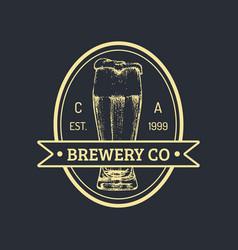 kraft beer bottle logo lager retro sign hand vector image