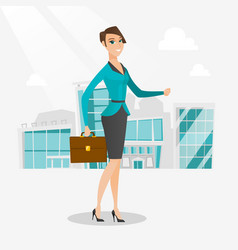 successful business woman walking in the city vector image