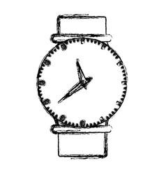Monochrome blurred silhouette of female wristwatch vector