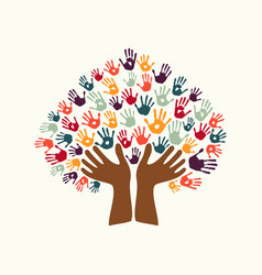 hand print ethnic tree symbol of culture diversity vector image