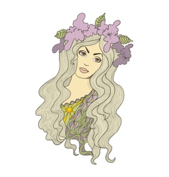 Beautiful hand drawn long-haired girl with flower vector
