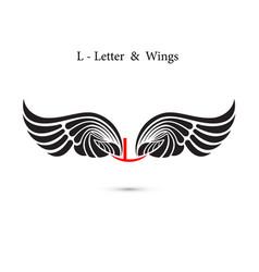 L-letter sign and angel wingsmonogram wing logo vector