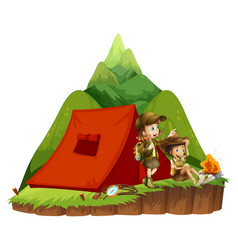 Two kids camping out in the mountain vector