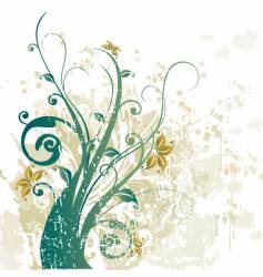 grunge floral design background vector image