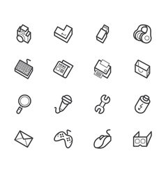 Computer element icon set on white backgrou vector