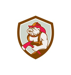 Bulldog fireman with axe shield retro vector