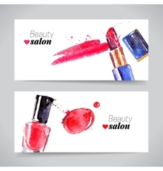 Watercolor cosmetics banner set beauty vector