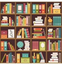 Bookshelf with books seamless background vector