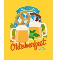 Beer mug and pretzel oktoberfest poster vector