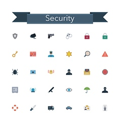 Security flat icons vector